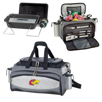 Picnic Time Vulcan Kansas Tailgating Cooler and Propane Gas Grill Kit with Embroidered Logo