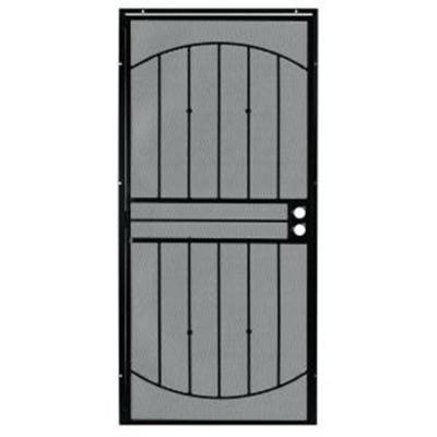 32 in. x 80 in. 555 Series Tuscany Black Steel Prehung Security Door Product Photo