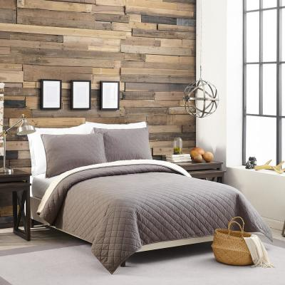 Solid Flannel Sherpa Cotton Quilt Set