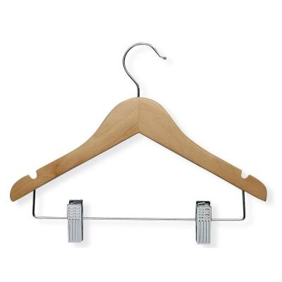 Maple Finish Kid's Basic Hanger with Clips (10-Pack)