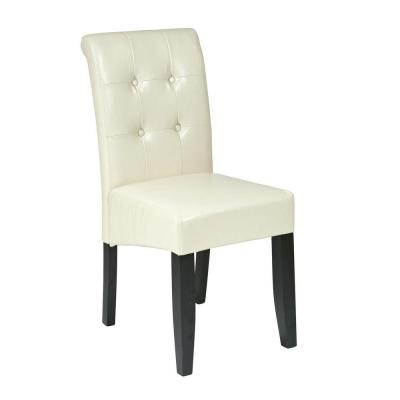 OSPdesigns Parsons Eco Leather Button Back Dining Chair in Cream