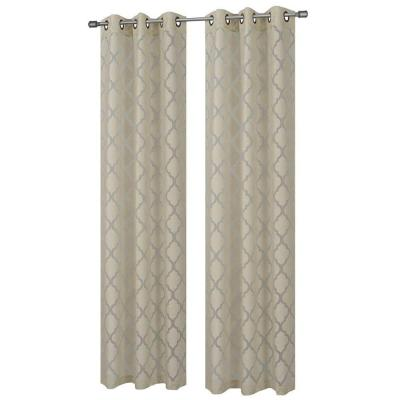 Lattice Cotton Blend Burnout Sheer Ivory Grommet Curtain Panel, 38 in. W x 84 in. L Product Photo