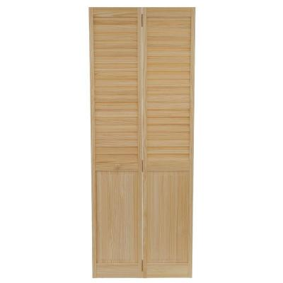 Kimberly Bay 30 in. x 80 in. 30 in. Plantation Louvered Solid Core Unfinished-Panel Wood Interior Closet Bi-fold Door