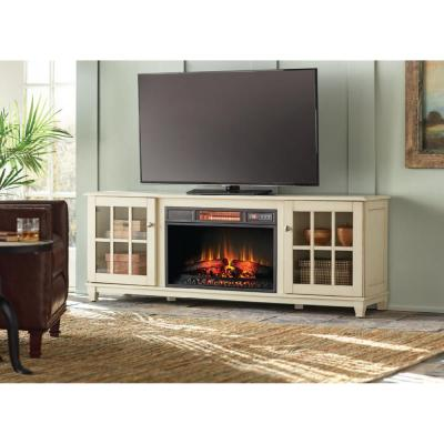 Westcliff 66 in. Low Boy Media Console Electric Fireplace in Bleached