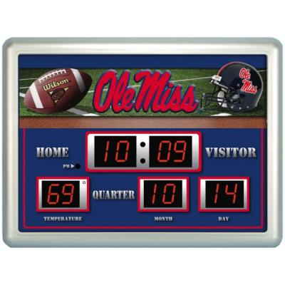 null University of Mississippi 14 in. x 19 in. Scoreboard Clock with Temperature