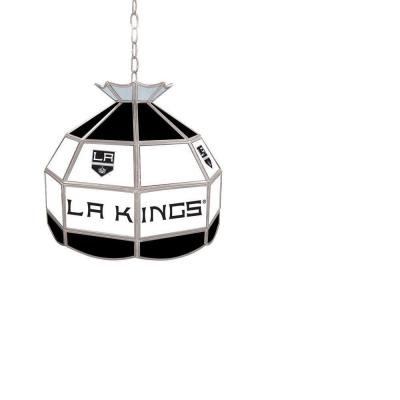 Trademark Global NHL Los Angeles Kings 16 in. Stained Glass Billiard Hanging Tiffany Light NHL1600-LAK