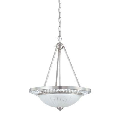 Cascade Collection 3-Light Polished Nickel Hanging Pendant with Scavo Glass