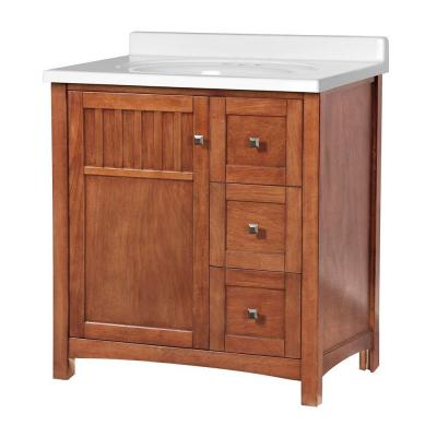 Foremost Knoxville 31 in. W x 22 in. D Vanity in Nutmeg with Vanity Top in White