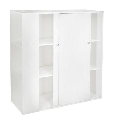 Storit Wood Laminate Kids Storage Cabinet with Sliding Doors in Pure White Product Photo