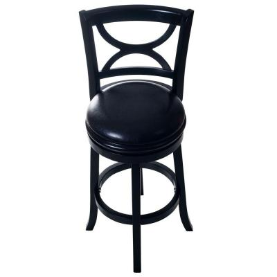 lavish home 29 in bar stool with back and swivel in black wood 75