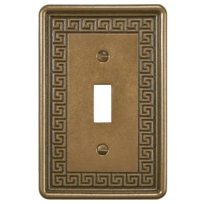 Contempo Greek Key 1 Toggle Wall Plate - Bronze Product Photo