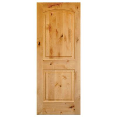 Krosswood doors 30 in x 80 in rustic knotty alder 2 panel top rail arch solid wood core right for Solid wood interior doors home depot