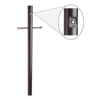 Design House 6-2/3 ft. Black Lamp Post with Cross Arm and Photo Eye