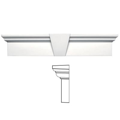 9 in. x 43-5/8 in. Flat Panel Window Header with Keystone in 117 Bright White Product Photo