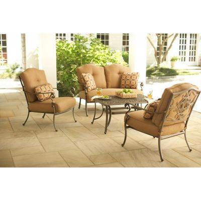 Martha Stewart Living Miramar II 4-Piece Patio Seating Set with Tan Cushions