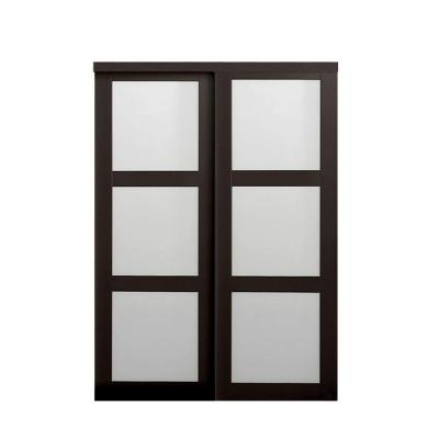 TRUporte Grand 60 in. x 80 in. 2290 Series Composite Espresso 3-Lite Tempered Frosted Glass Sliding Door