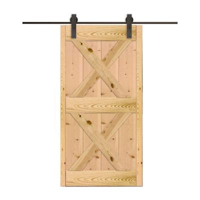 36 in. x 80 in. Ponderosa Pine Unfinished Barn Door with Hook Style Sliding Door Hardware Kit Product Photo