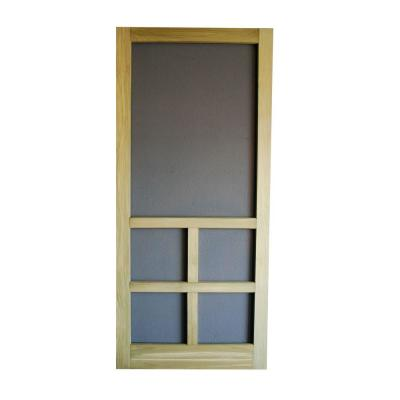 32 in. x 80 in. Summit Wood Unfinished Reversible Hinged Screen Door Product Photo