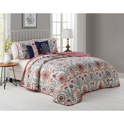 Valena Floral Reversible Quilt Set with Throw Pillows