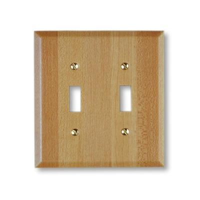 Steel 2 Toggle Wall Plate - Faux Wood