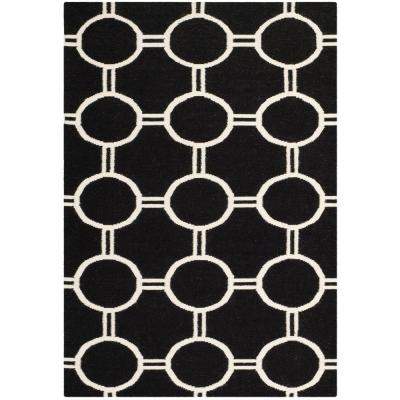 Dhurries Black/Ivory 6 ft. x 9 ft. Area Rug