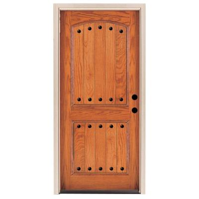 36 in. x 80 in. Rustic 2-Panel Stained Oak Wood Prehung Front Door Product Photo
