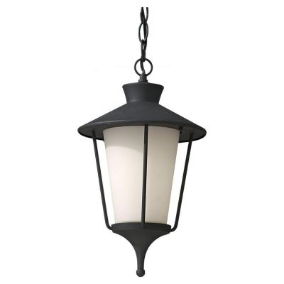 Feiss Hawkins Square 1-Light Outdoor Hanging Textured Black Lantern Pendant