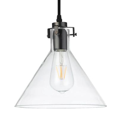 Delphinus 10 in. Bronze LED Adjustable Hanging Industrial Pendant with LED Filament Bulb Product Photo