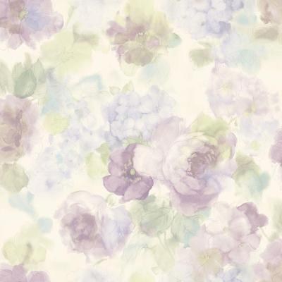 8 in. x 10 in. Winifred Purple Japanese Peony Wallpaper Sample