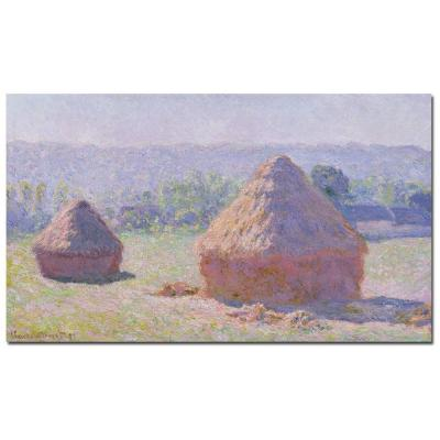 "30 in. x 47 in. ""Grainstacks on a Summer Morning, 1891"""
