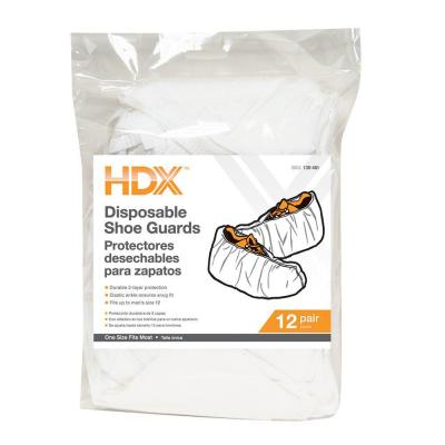 HDX One Size Fits Most, White Disposable Shoe Cover (12-Pair)