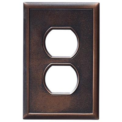 1 Duplex Outlet Wall Plate - Oil Rubbed Bronze Product Photo