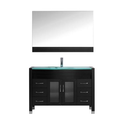 Virtu USA Ava 47.2 in. W x 22 in. D Vanity in Espresso with Glass Vanity Top with Aqua Basin and Mirror