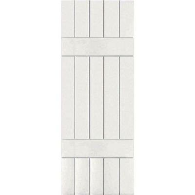18 in. x 79 in. Exterior Real Wood Sapele Mahogany Board and Batten Shutters Pair White Product Photo