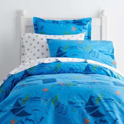 Sea Life 200-Thread Count Cotton Percale Duvet Cover