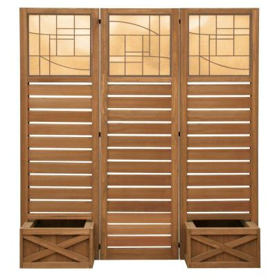 62 in. x 18 in. Garden Screen with Planters Product Photo