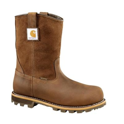 """Men's Brown Leather, Lug Bottom,Waterproof, Carbon Nano Safety Toe, 10"""" Pull-On Work Boot"""