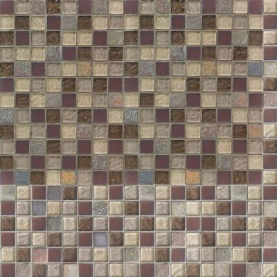 Cabernet 12 in. x 12 in. x 8 mm Glass Slate Mosaic Wall Tile
