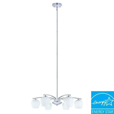 Eglo Carda 6-Light Chrome Chandelier with Glossy White Glass Shade