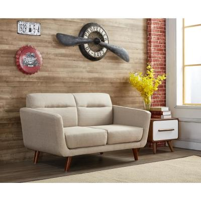 Paris Contemporary Tan Fabric Upholstered Accent Loveseat