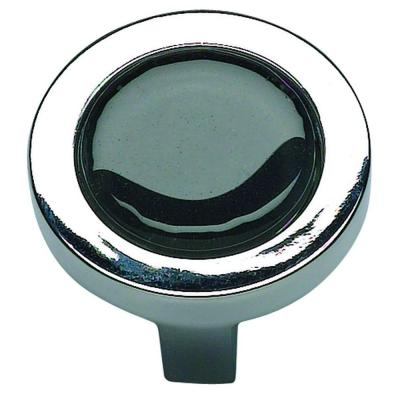 Atlas Homewares Spa Collection 1-1/4 in. Black Glass And Chorme Round Cabinet Knob