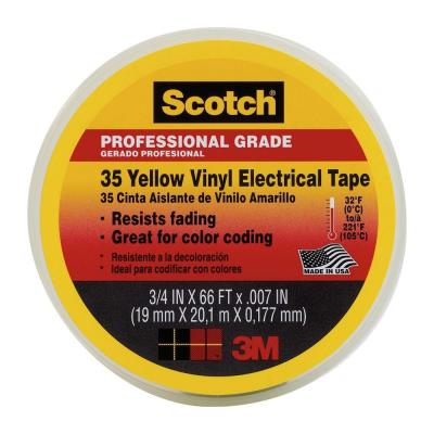 3M Scotch 3/4 in. x 66 ft. #35 Yellow Electrical Tape