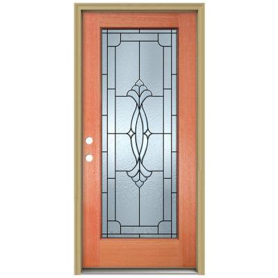 36 in. x 80 in. Champagne Full Lite Unfinished Mahogany Wood Prehung Front Door with Brickmould and Patina Caming Product Photo