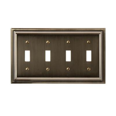 Amerelle Continental 4 Toggle Wall Plate - Brushed Brass