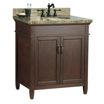 Foremost Ashburn 31 in. W x 22 in. D Vanity in Mahogany with Granite Vanity Top in Quadro with White Basin