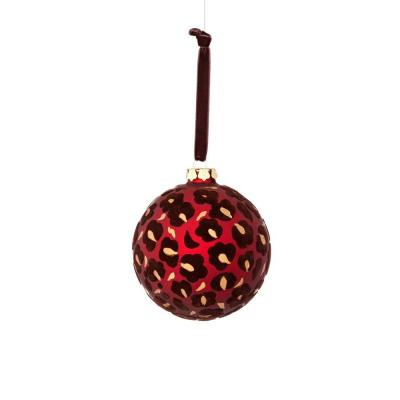 Textures and Patterns Collection 4.75 in. Glass Flock Leopard Ornament (4-Pack)