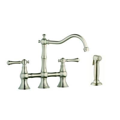 GROHE 12 in. 2-Handle High-Arc Side Sprayer Bridge Kitchen Faucet in Infinity Brushed Nickel