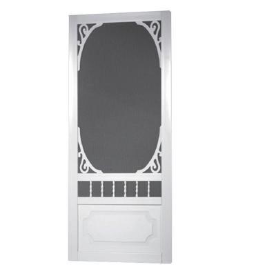 Belle Harbour Solid Vinyl White Screen Door