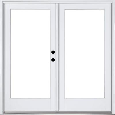 59-1/4 in. x 79-1/2 in. Fiberglass White Left-Hand Inswing Hinged Patio Door Product Photo