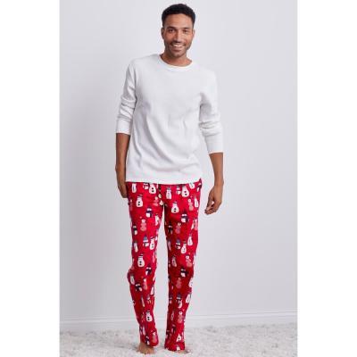 Family Flannel Men's Snowman 2-Piece Thermal Pajama Set